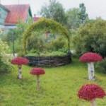 корзина и грибы из ивы, малые архитектурные формы