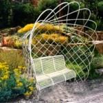 """ажурная """"ракушка"""" с садовой скамейкой, ландшафтный дизайн"""