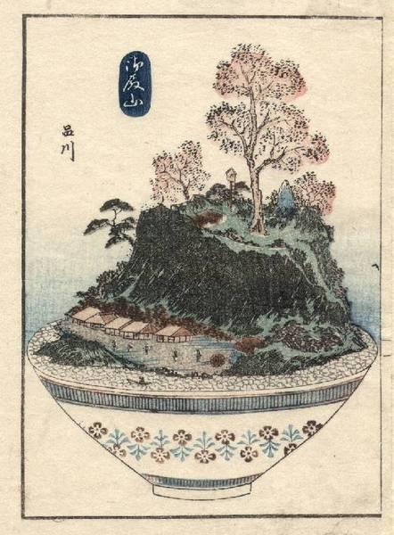 Пейзаж на подносе. Работа художника XIX века Ютагавы Йошишиге