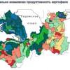 Картограма Ленинградской области по картофелю